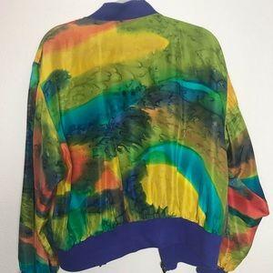 Jackets & Blazers - Tie-Dyed silk satin bomber jacket reversible